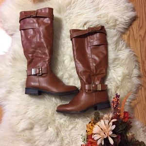 Zip Up Brown Tall Boots with Gold Buckles